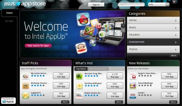 asus app store 590x345 Asus Eee PC X101H con sistema operativo MeeGo [Reseña]