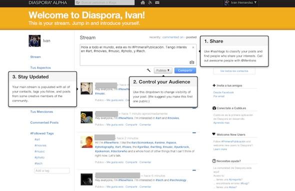 Diaspora Alpha, un primer vistazo a la red social libre - Diaspora-mainpage