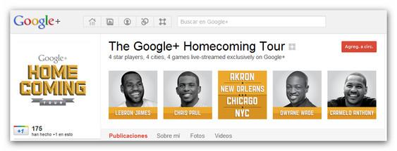 Google+ Homecoming Tour, baloncesto NBA de la mano de Google - google+-homecoming-tour