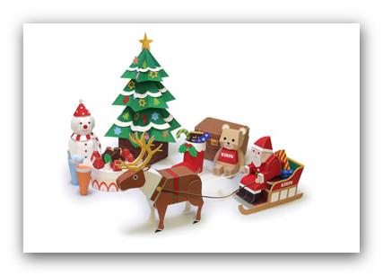 Colección con los mejores Paper Toys para Navidad - kirin-set-navidad