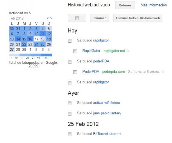Elimina tu historial de navegación de Google - historico-google-590x490