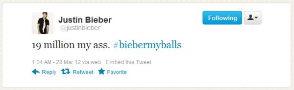 La cuenta de Twitter de Justin Bieber es hackeada y publica #biebermyballs - biebermyballs