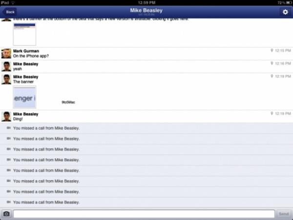 Facebook messenger ipad Se filtran imágenes de la aplicación de Facebook Messenger para iPad