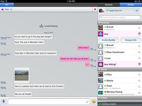 Conectarse a messenger desde tu celular con Imo - imo-ipad