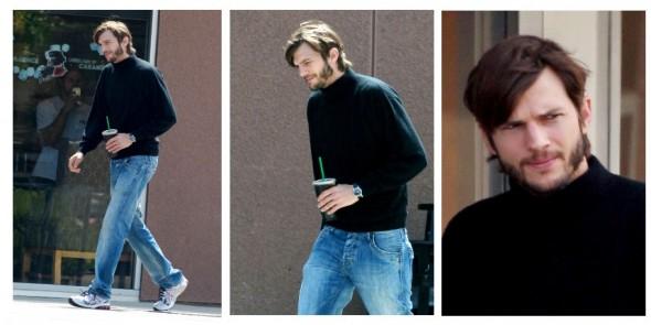 kutcher jobs 590x295 Ashton Kutcher es captado con ropa característica de Steve Jobs