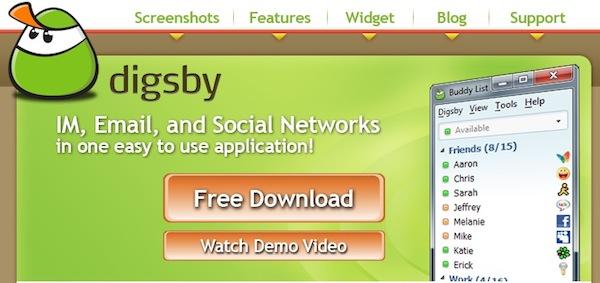 Digsby Messenger online, algunas opciones