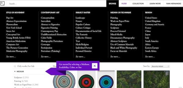 Art.sy, el lugar en donde descubrir y comprar obras de arte [Reseña] - Filtro-artsy