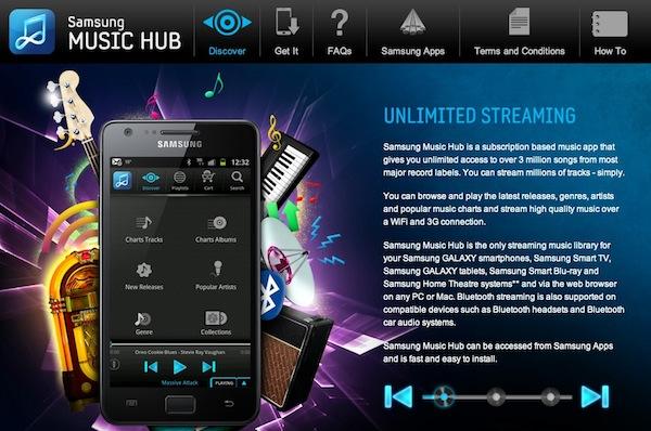 Samsung music hub Samsung Galaxy SIII vendrá acompañado del servicio musical llamado Music Hub