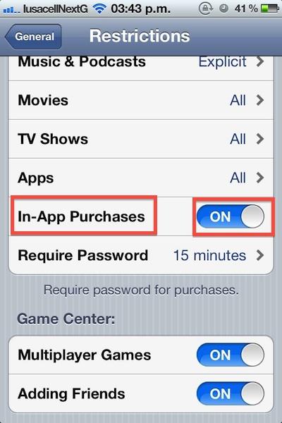 Como bloquear compras in app ios 3 Cómo bloquear las compras dentro de la aplicación (In app) en iOS