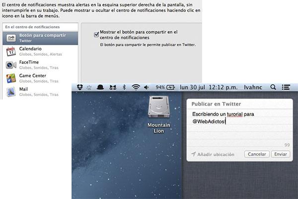 Twitter centro notificaciones Cómo personalizar el Centro de Notificaciones en Mountain Lion