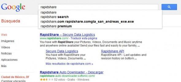 Oficial la prohibición a Google en Francia de autocompletado en búsquedas de Rapidshare - busqueda-rapidshare-590x268