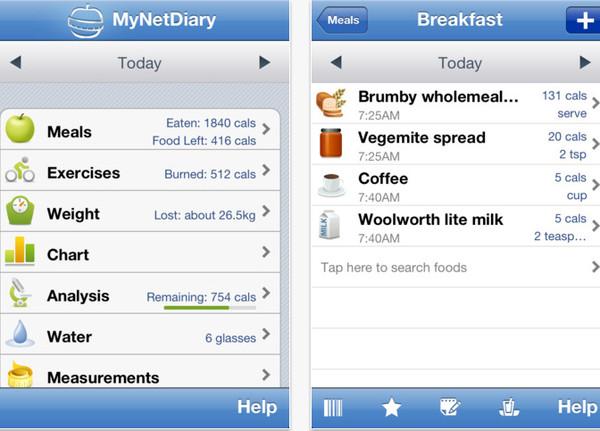 Calorie Counter de MyNetDiary te ayuda a bajar esos kilos de mas - calorie-counter