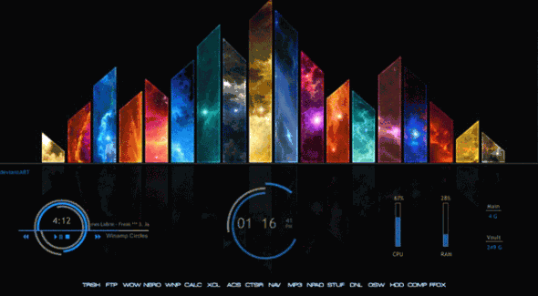 Personaliza tu escritorio de Windows con estos skins de Rainmeter - electric-space-590x325