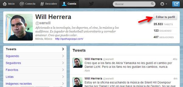 cambiar banner twitter 1 Cómo cambiar el encabezado o banner de tu perfil de Twitter