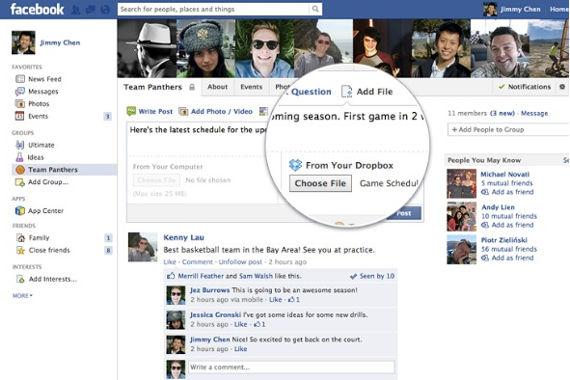 Facebook agrega opción de poder compartir archivos en los grupos mediante Dropbox - facebook-con-dropbox