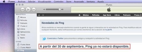 iTunes Cierre 30 septiembre Ping, la red social musical de Apple cerrará sus puertas el próximo 30 de septiembre