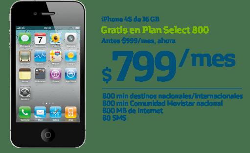 Samsung Galaxy SIII y iPhone 4S gratis con Movistar para este Buen Fin - iPhone4S-16GB-buen-fin-movistar