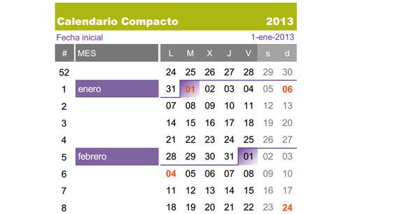 calendario compacto Calendarios 2013 para imprimir