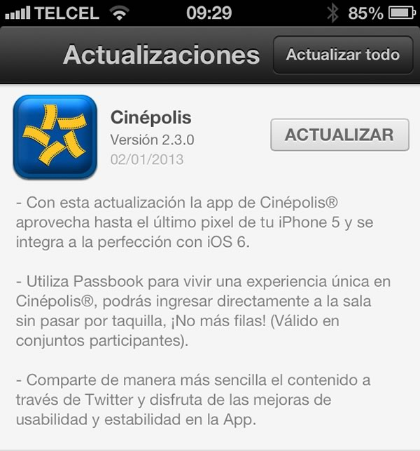 cinepolis passbook1 Cinépolis actualiza su app para iOS y le añade Passbook para evitar hacer filas