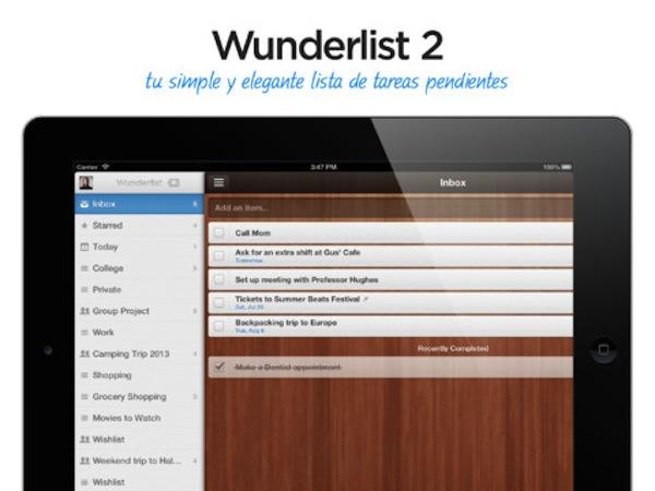 Wunderlist 2 para iPad por fin disponible - Wunderlist-2-iPad