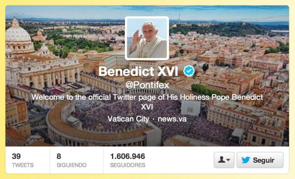 Las cuentas de Twitter del Papa Benedicto XVI serán cerradas - pontifex-600x365