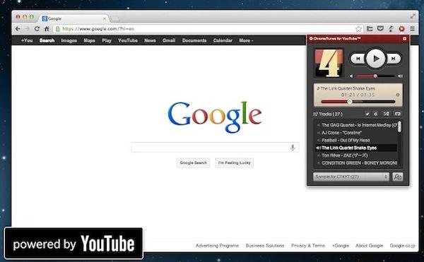 Escuchar listas de reproducción de YouTube en Chrome con ChromeTunes - ChromeTunes