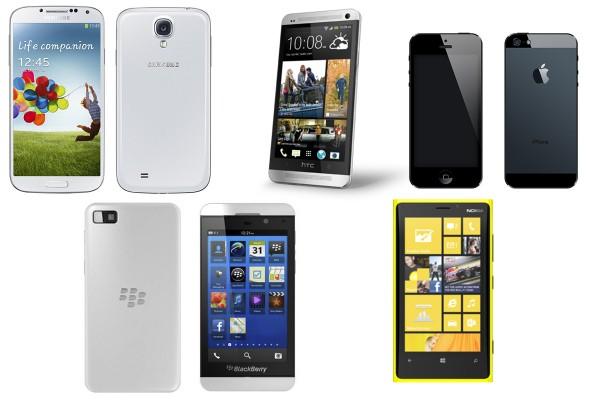 Comparativa del Galaxy SIV con los mejores teléfonos de la actualidad - galaxys4-vs-iphone-bbz10-htcone-lumia920-600x400