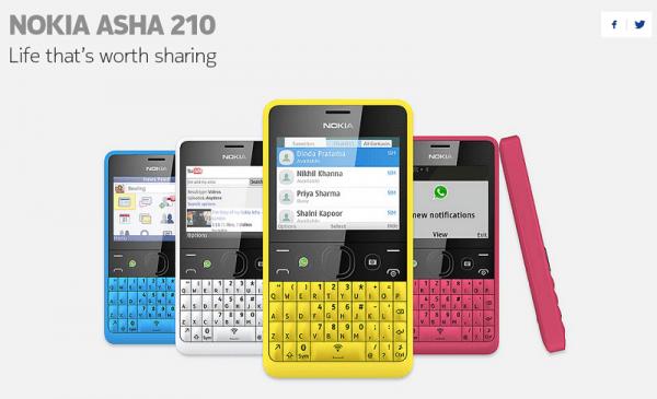 Nokia asha 210 600x365 Nokia Asha 210, el primer teléfono con un botón para WhatsApp