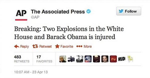 Cuenta de Twitter de la agencia AP es hackeada y anuncia falso ataque terrorista a la Casa Blanca - ap-twitter