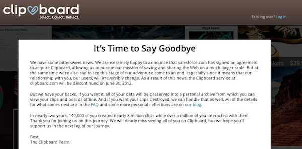 Cierra Clipboard Clipboard cierra tras su compra por parte de Salesforce.com