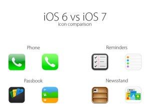 Comparativa de los iconos de iOS 6 vs iOS 7
