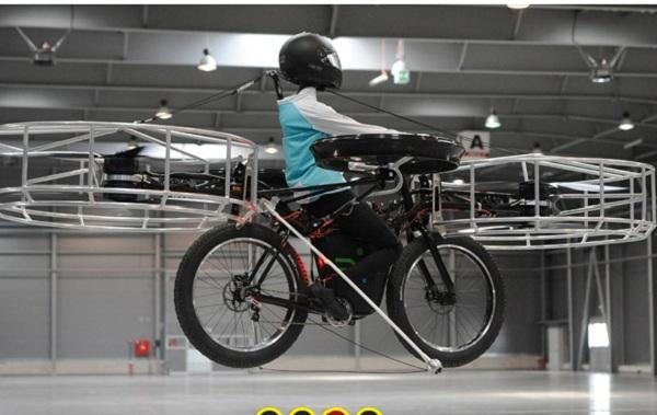 primera bicicleta helicoptero Inventan la primera bicicleta voladora
