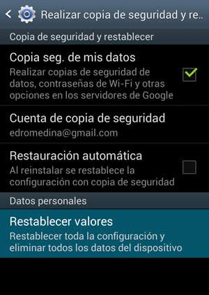 Restablecer valores de fabrica para Samsung Galaxy S3 - restaurar-valores-android