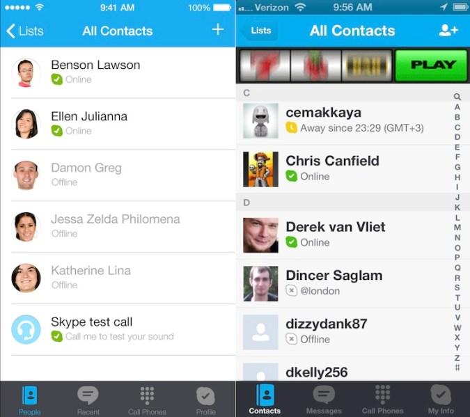 ¿Cómo se verían las aplicaciones si adoptaran la nueva interfaz de iOS 7? - Skype-iOS-7