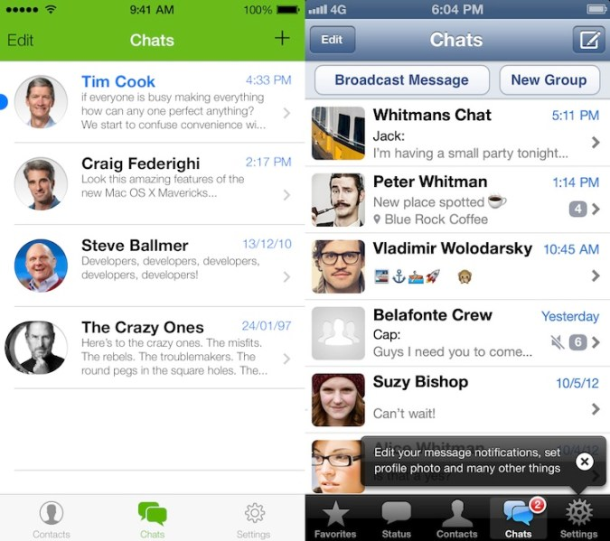 ¿Cómo se verían las aplicaciones si adoptaran la nueva interfaz de iOS 7? - WhatsApp-iOS-7
