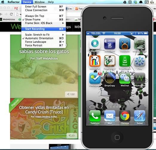 Graba lo que haces en la pantalla de tu iPhone o iPad, y mucho más con Reflector - grabar-pantalla-ios-reflector