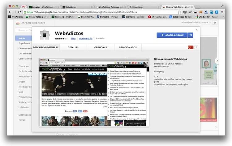 Instala la nueva extensión de WebAdictos para Google Chrome y no te pierdas de ninguna noticia - webadictos-google-chrome-1
