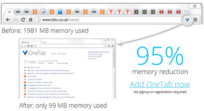 One Tab, permite para reducir el consumo de memoria RAM al utilizar Google Chrome - reducir-consumo-de-memoria-google-chrome