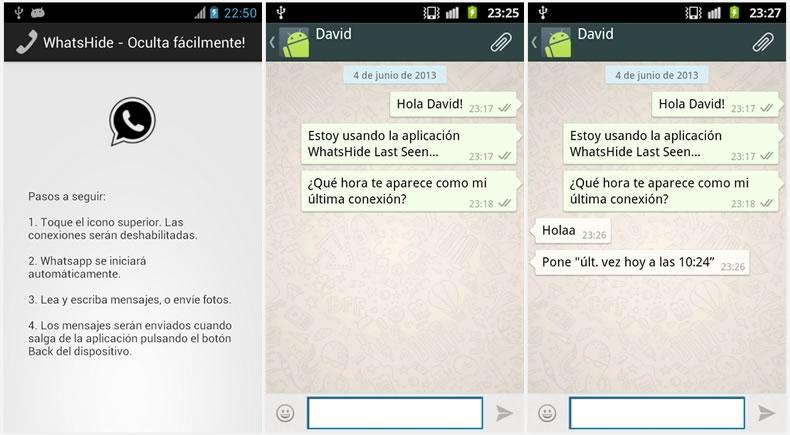 """Quitar """"última vez"""" conectado en WhatsApp para Android con WhatsHide - ocultar-conexion-whatsapp"""