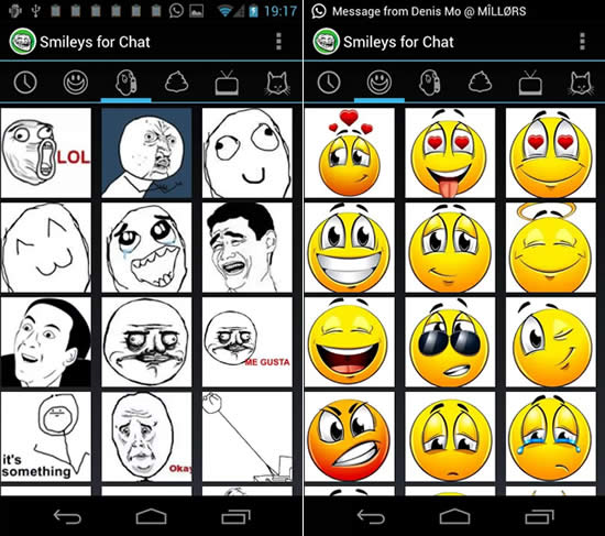 smileys para chat Apps para complementar WhatsApp en Android