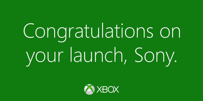 Felicidades Sony Microsoft felicita a Sony por el lanzamiento del PS4 en Twitter