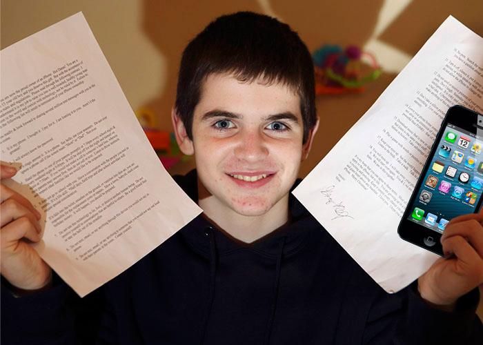 Le regala a su hijo un iPhone pero le hace firmar un contrato - contrato-iphone