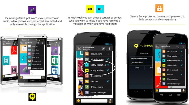 HushHushApp, una alternativa a WhatsApp enfocada a proteger la privacidad - HushHushApp-android-ios