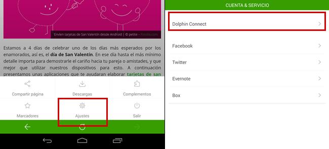 Compartir páginas web del smartphone a la computadora o viceversa - ajustes-de-dolphin-browser