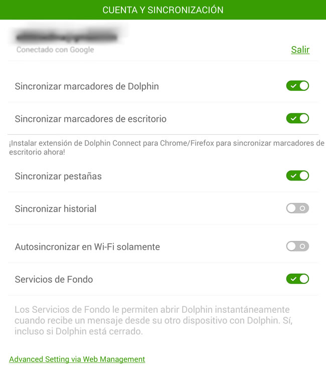 Compartir páginas web del smartphone a la computadora o viceversa - configuracion-dolphin-browser