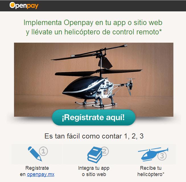helicoptero Acepta pagos con tarjeta de crédito y otros medios en tu app o sitio web con Openpay