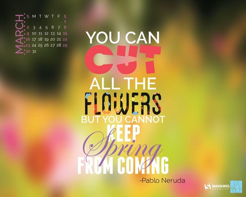 Decora tu escritorio con estos fondos con el calendario de Marzo - calendario-marzo-pablo-neruda