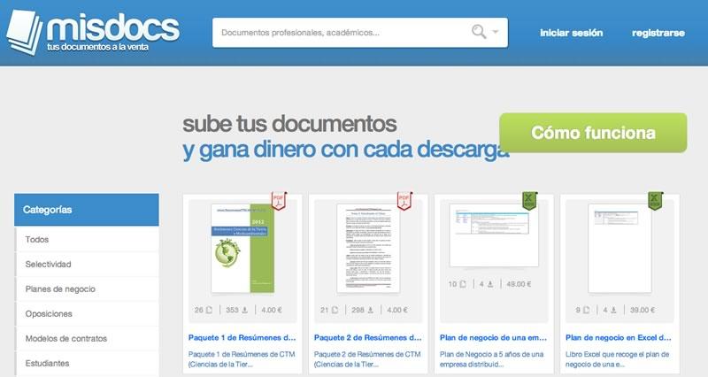 Gana dinero vendiendo tus documentos en línea en Misdocs - ganar-dinero-misdocs