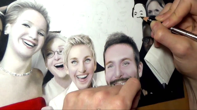 El selfie de los Oscares dibujado a mano, ¡No vas a creer que es real! - selfie-oscares-dibujado-800x447