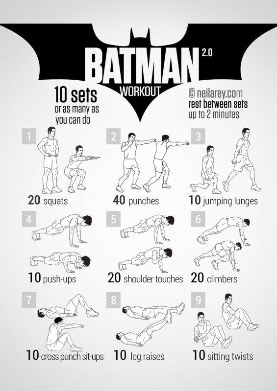 Rutinas de Ejercicios inspiradas en Superheroes - batman-workout